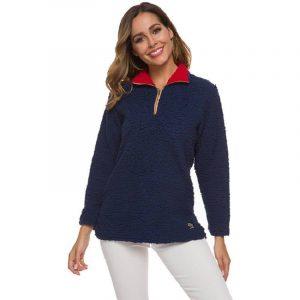 Plus Size Cashmere Sweater - navy blue color