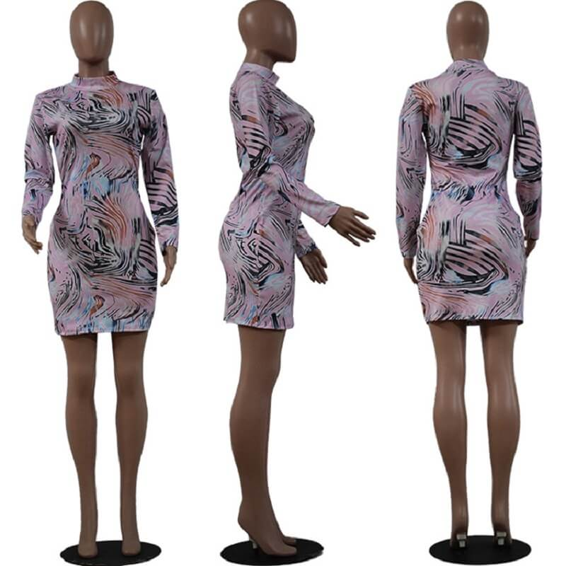 Printed Crew Neck Dress - pink model picture