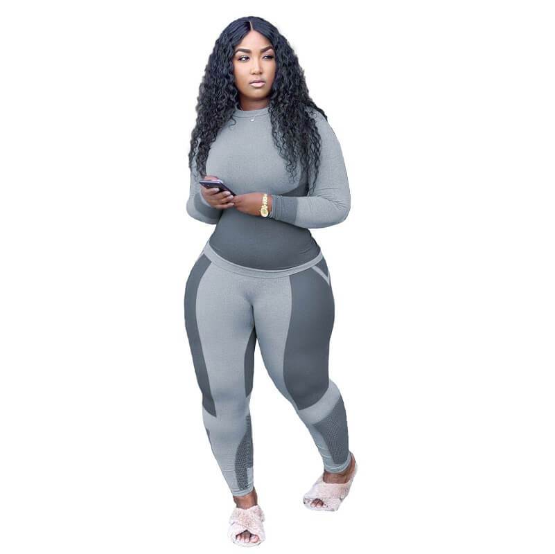 Plus Size Printed Long Sleeve Sports Suit - gray color