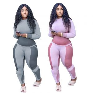 Plus Size Printed Long Sleeve Sports Suit - main picture