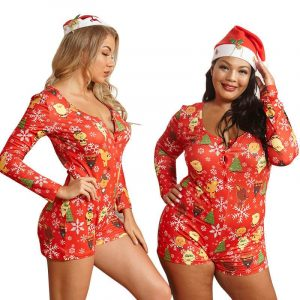 Plus size red Christmas jumpsuit - main picture