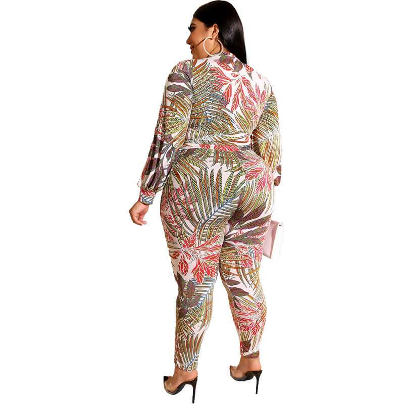 Plus Size Printed Zipper Suit - red back