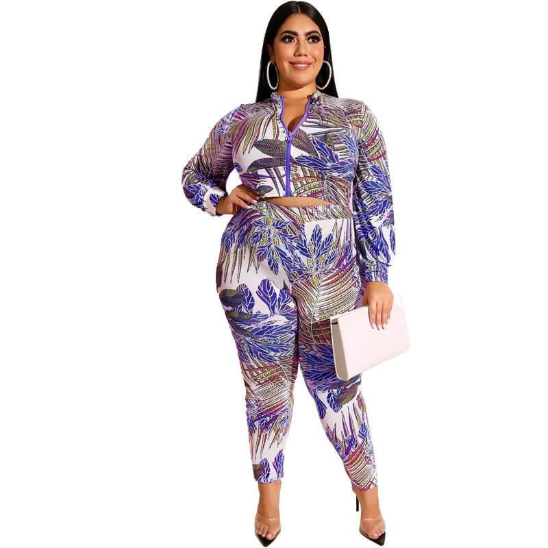 Plus Size Printed Zipper Suit - blue color