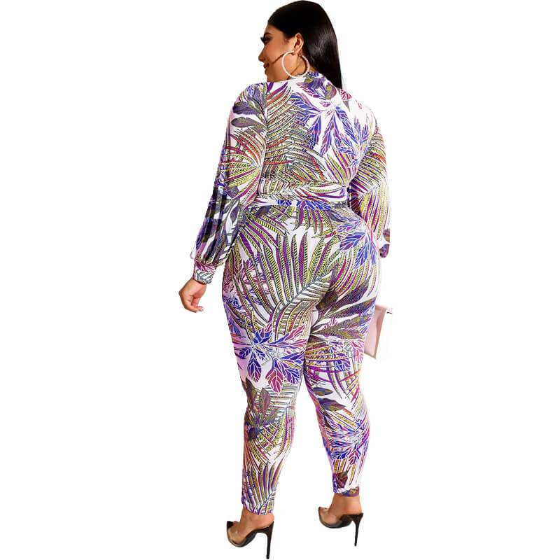 Plus Size Printed Zipper Suit - blue back