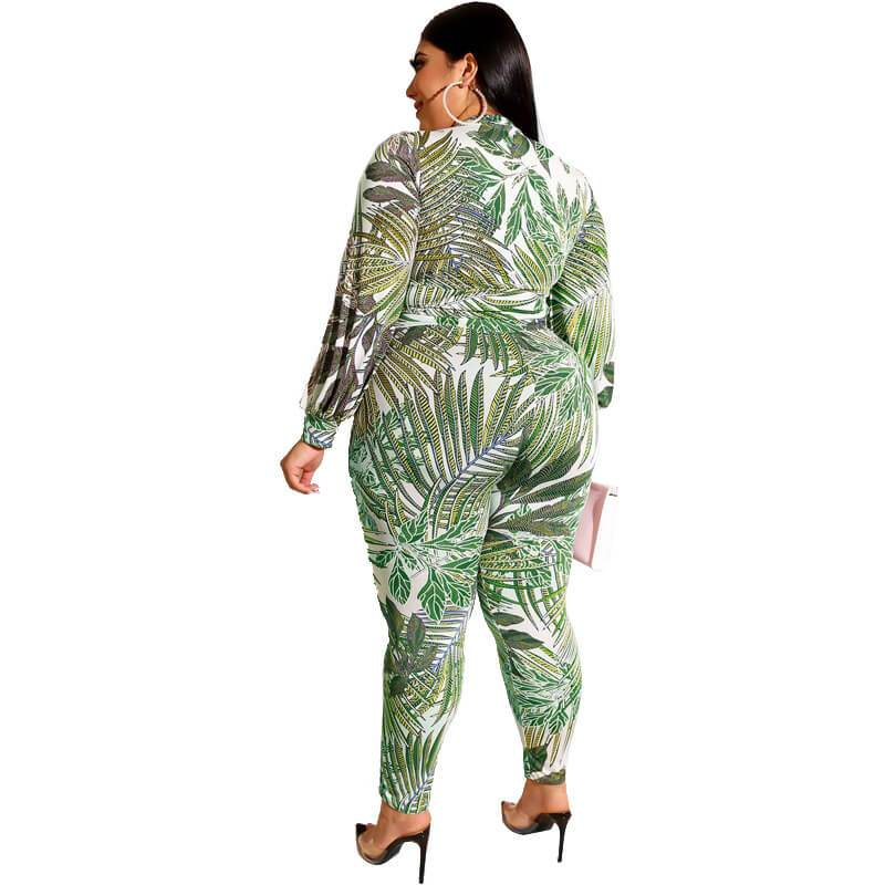 Plus Size Printed Zipper Suit - green back