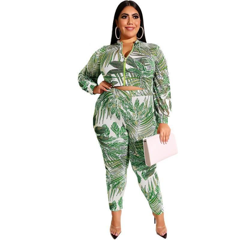 Plus Size Printed Zipper Suit - green color