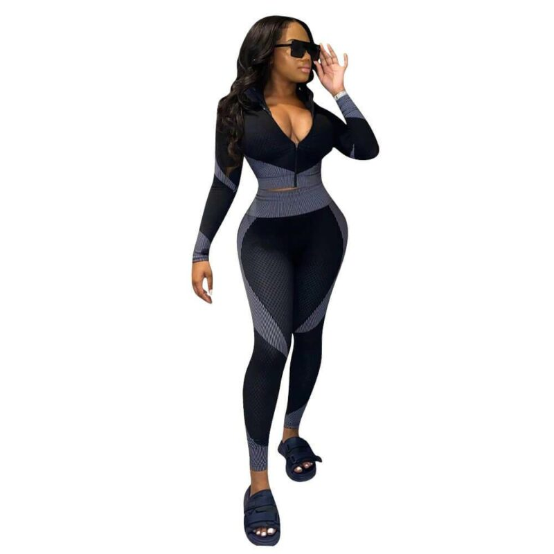 Plus Size Long-sleeved Fashion Suit - gray color