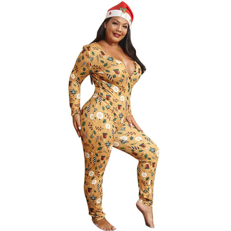Plus Size Gold Printed Jumpsuits - gold whole body