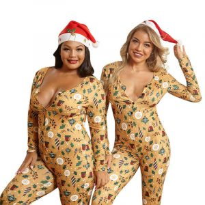 Plus Size Gold Printed Jumpsuits - main picture