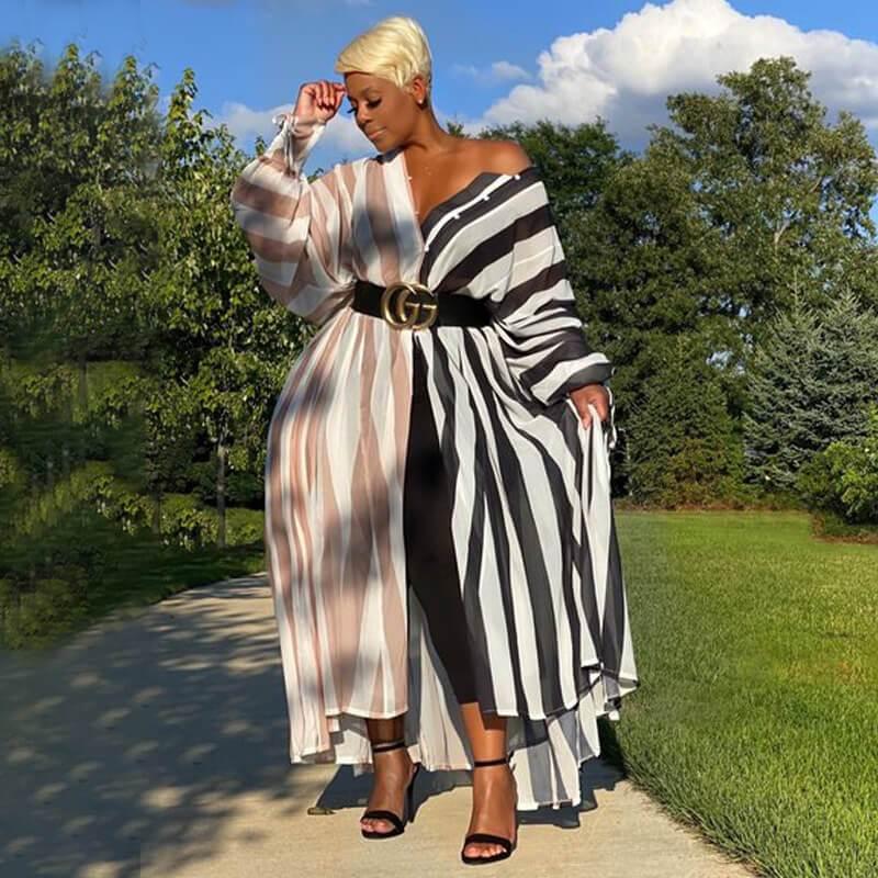 Oversized Color Block Long Dress - black positive