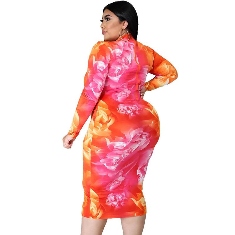 Plus Size Party Dresses For Weddings - flower pattern side