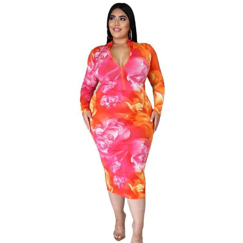 Plus Size Party Dresses For Weddings - flower pattern positive