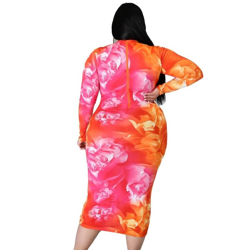 Plus Size Party Dresses For Weddings - flower pattern back
