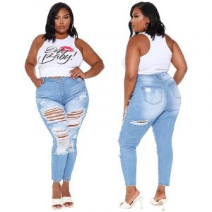 Plus Size Ripped Jeans Cheap - main picture