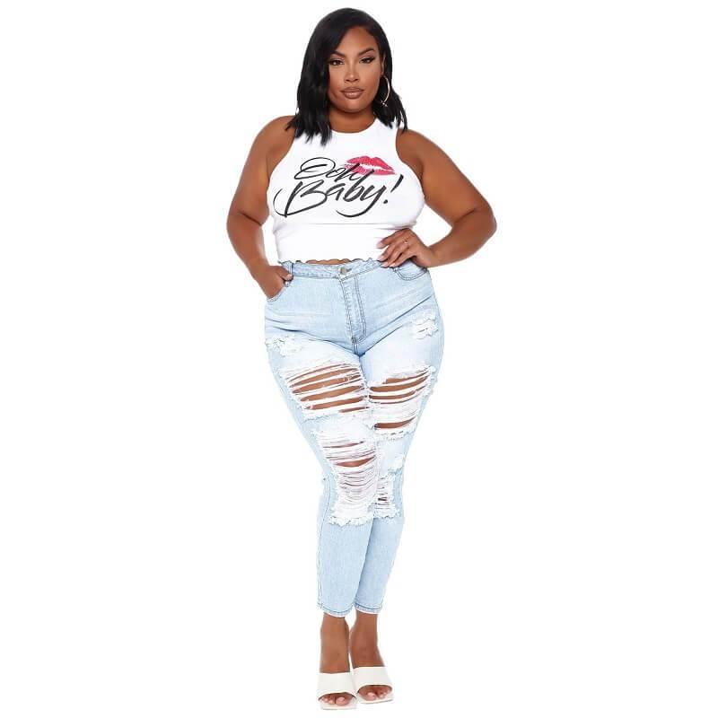 Plus Size Ripped Jeans Cheap - light blue positive