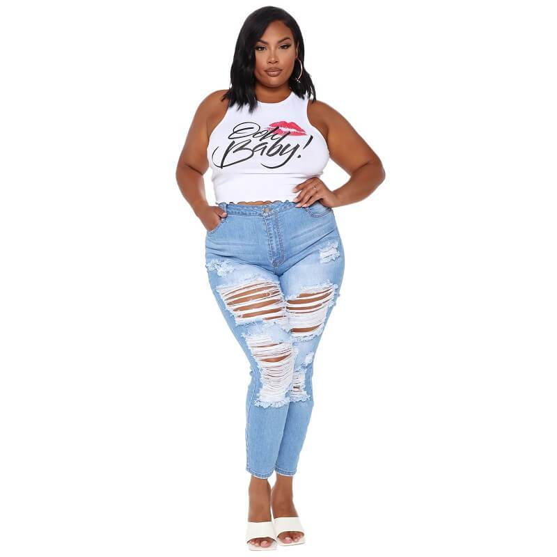 Plus Size Ripped Jeans Cheap - dark blue color