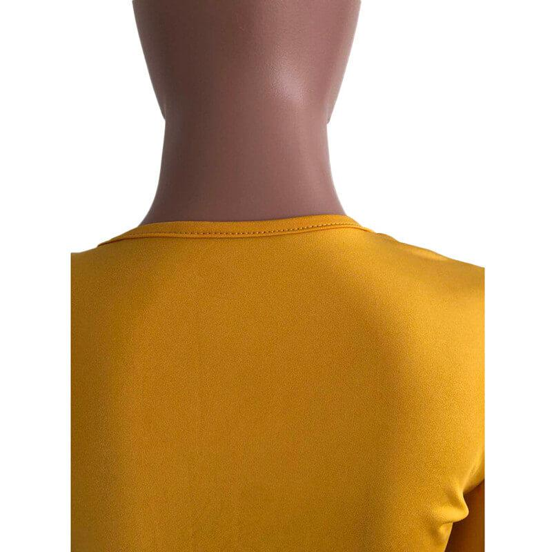 Plus Size Ruffle 2 Piece Lace-up Top - yellow back