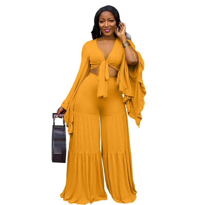 Plus Size Ruffle 2 Piece Lace-up Top - yellow color