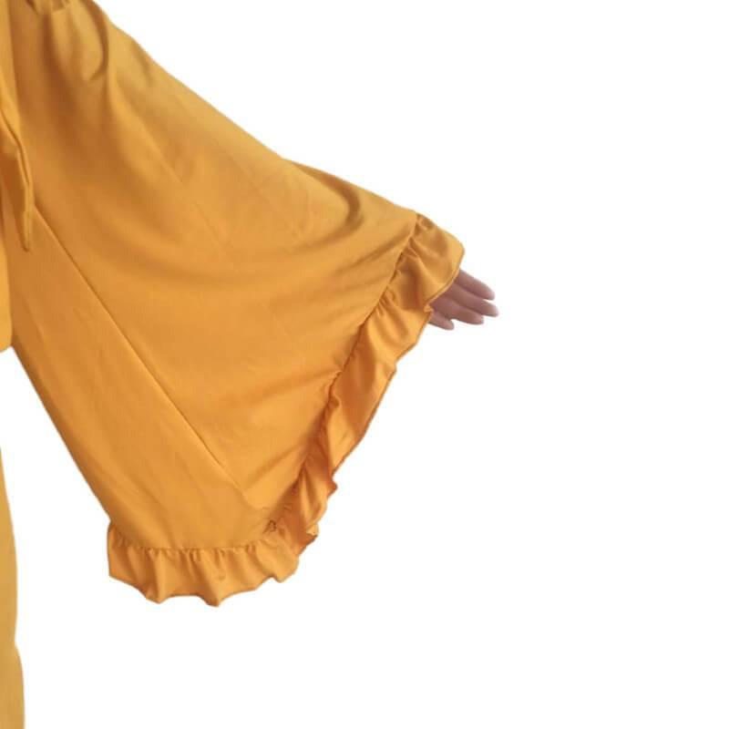 Plus Size Ruffle 2 Piece Lace-up Top - yellow cuff
