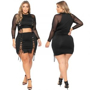 Plus Size Crop Top And Skirt Set - main picture