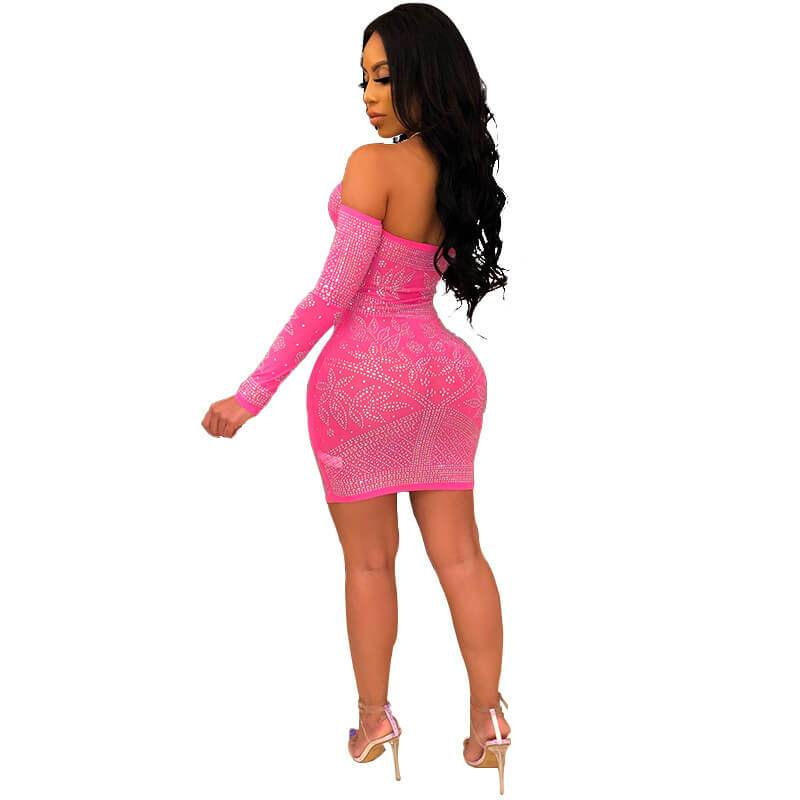Sexy Tight Dress - pink back