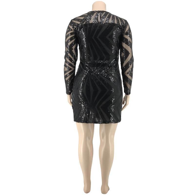 Sexy Sequins Plus Size Formal Dresses