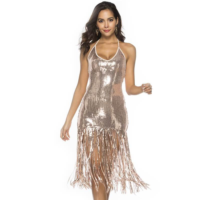 Sequin Sexy Tassel Dress - gold color