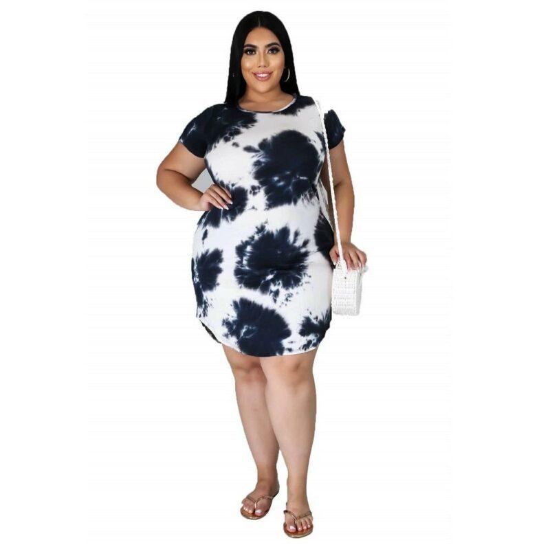 Plus Size Polka Dot Dress  - black color