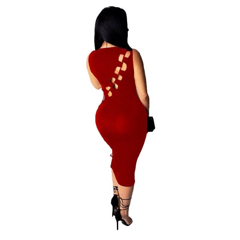 Sexy High Slit Dress - black color back view Chic Lover