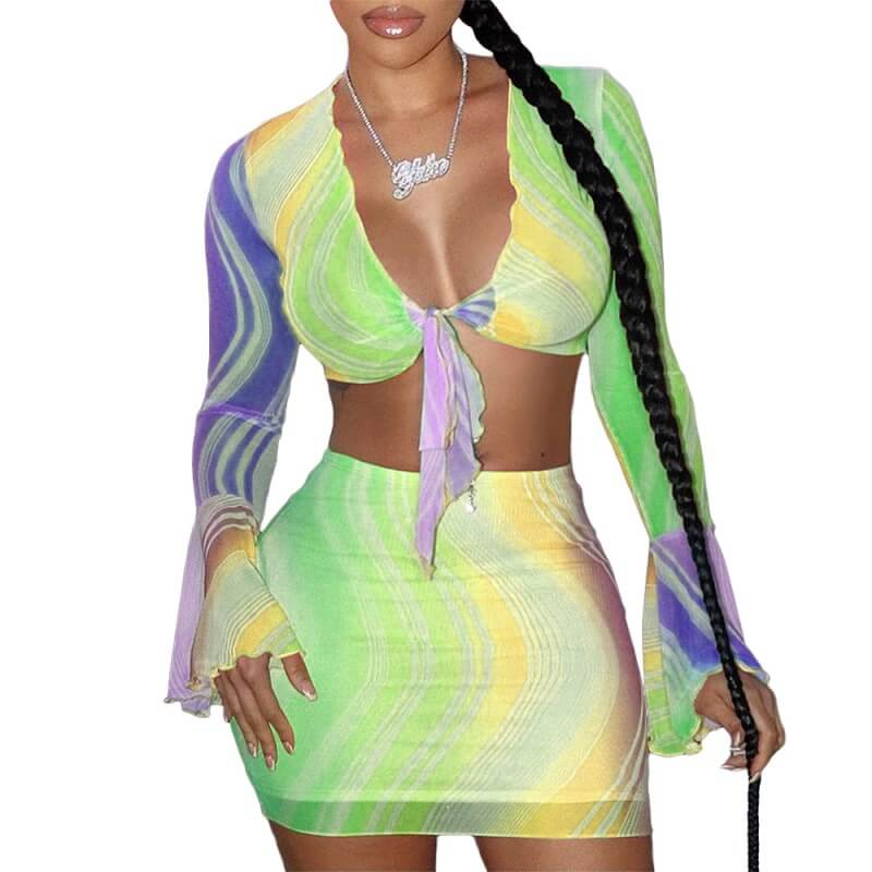 Sexy Skirt Set - green yellow color