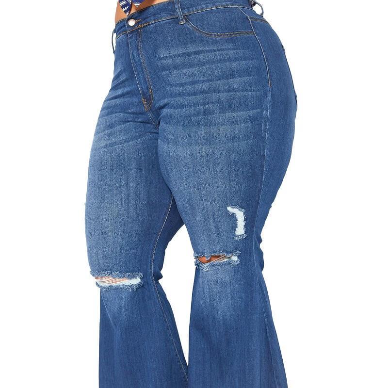 Plus Size Flare Leg Jeans - deep blue detail image