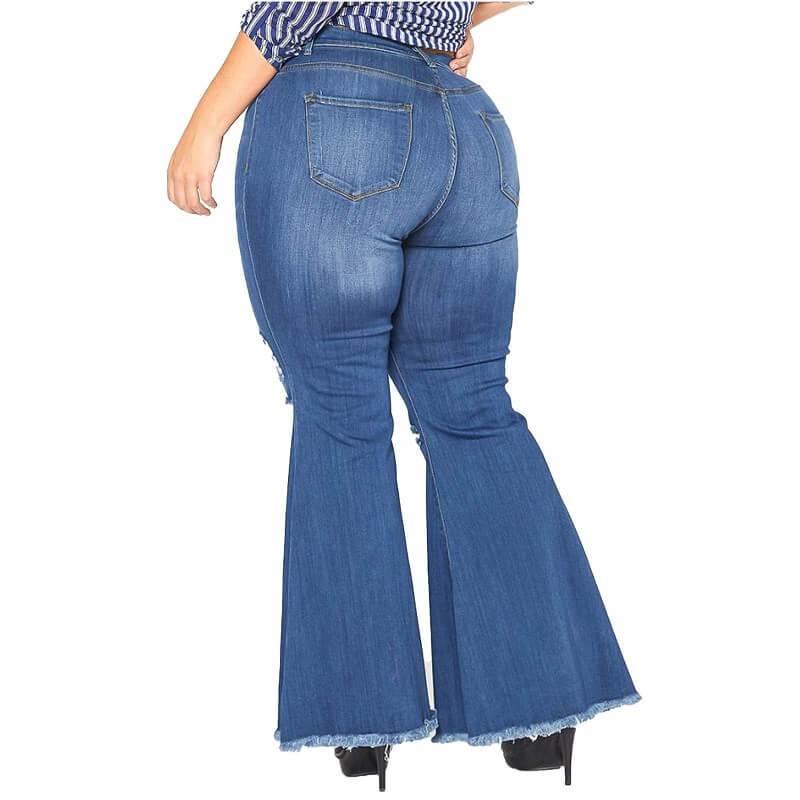 Plus Size Flare Leg Jeans - deep blue back