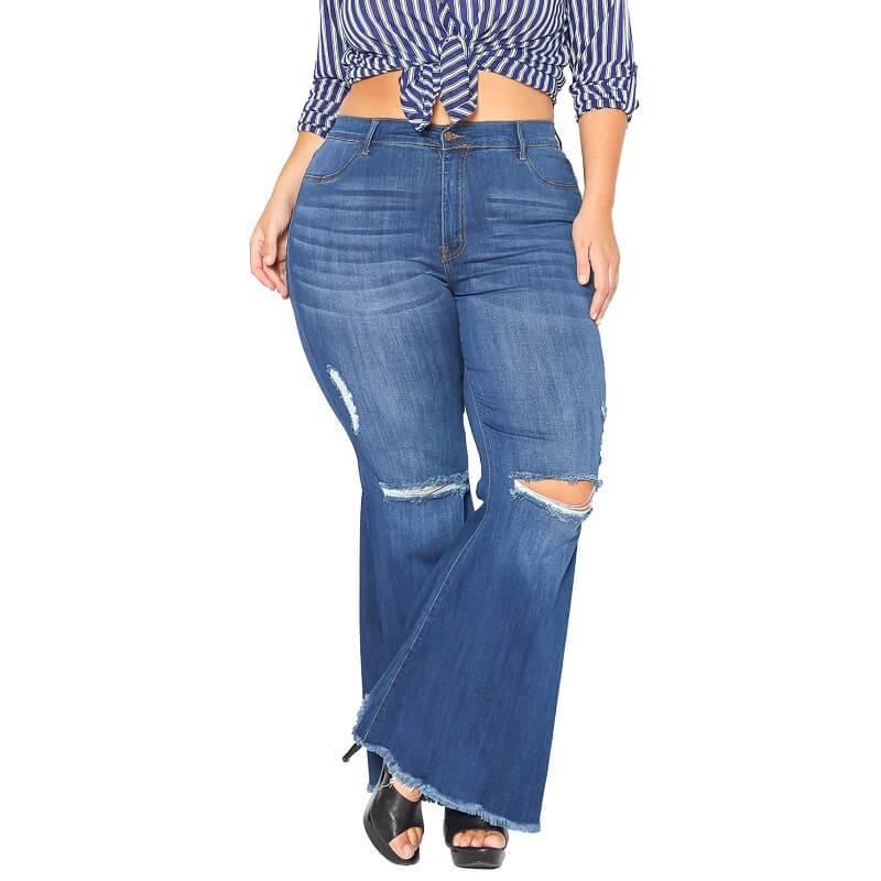 Plus Size Flare Leg Jeans - deep blue color