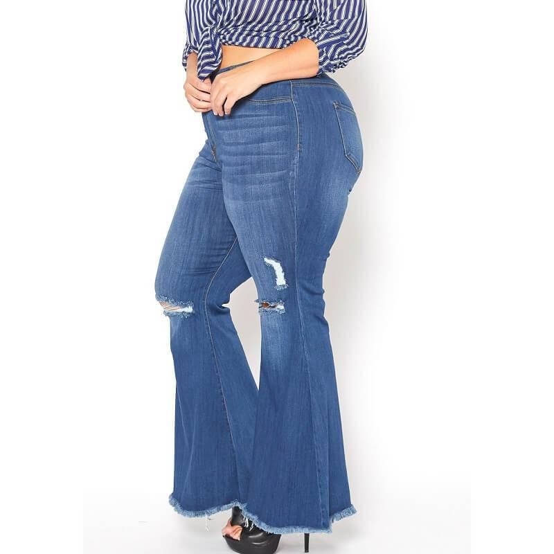 Plus Size Flare Leg Jeans - deep blue side
