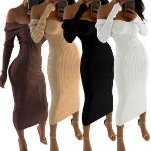 Sexy Off Shoulder V-Neck Sleeve Dress - main picture