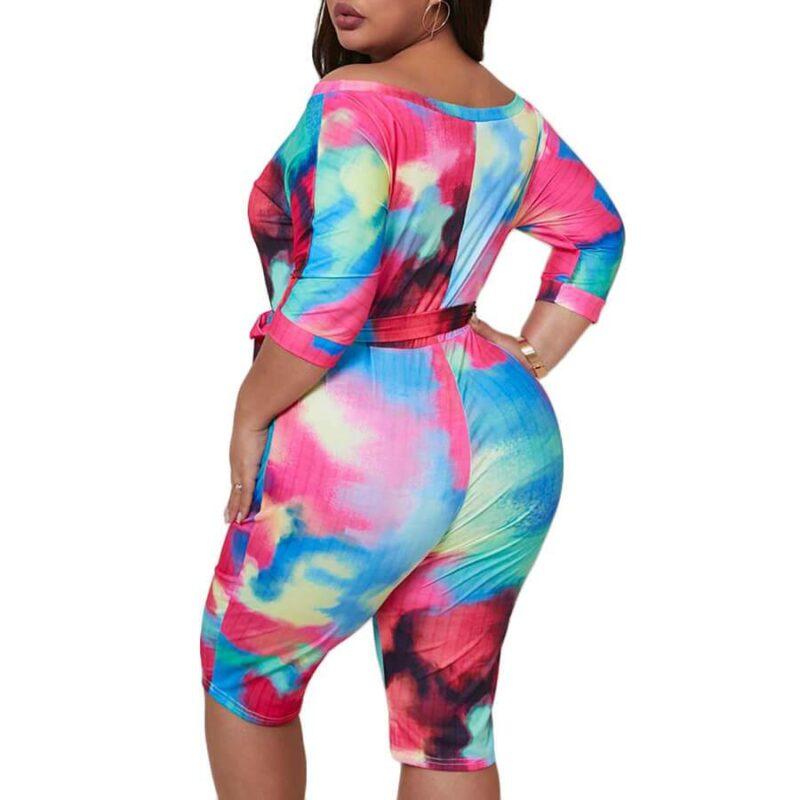 Plus Size Short Sleeve Jumpsuit - black side