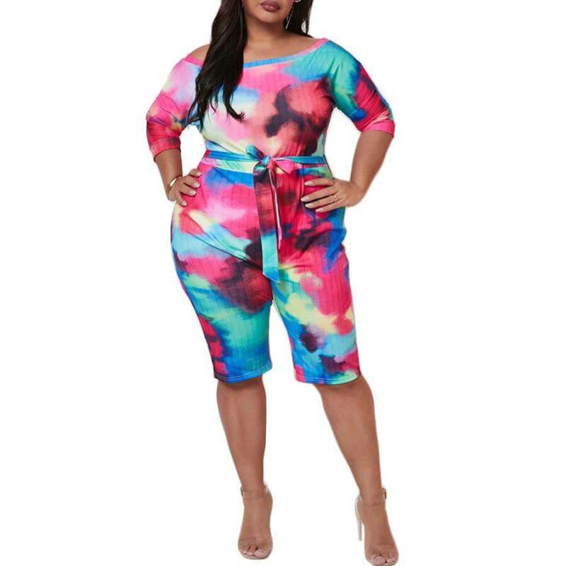 Plus Size Short Sleeve Jumpsuit - black positive