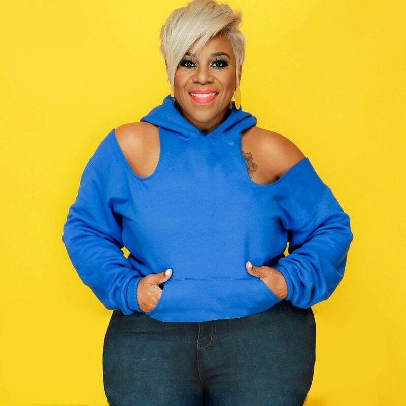 Oversize Missing Shoulder Hoodie - blue color