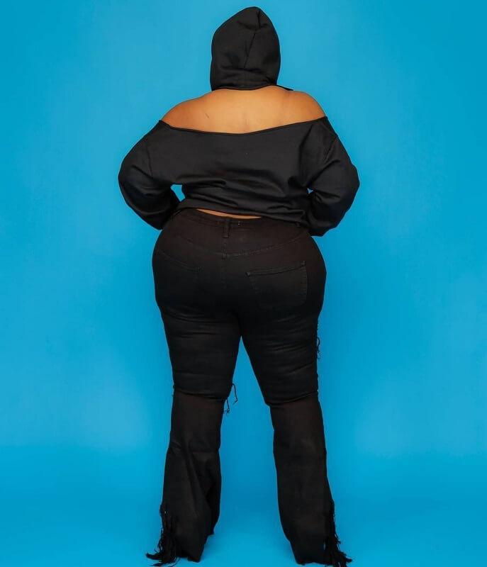 Oversize Missing Shoulder Hoodie - black  back