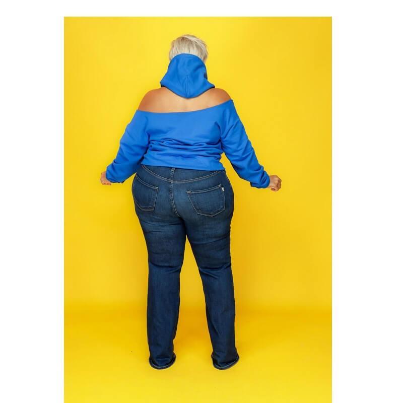 Oversize Missing Shoulder Hoodie - blue back