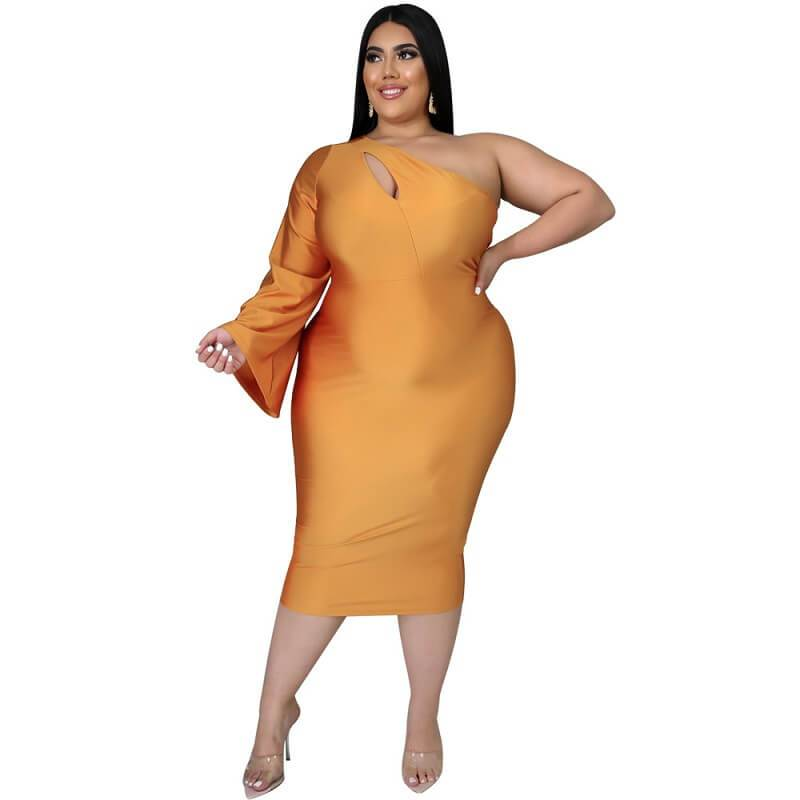 Plus Size Dresses To Wear With Sleeves - gold color