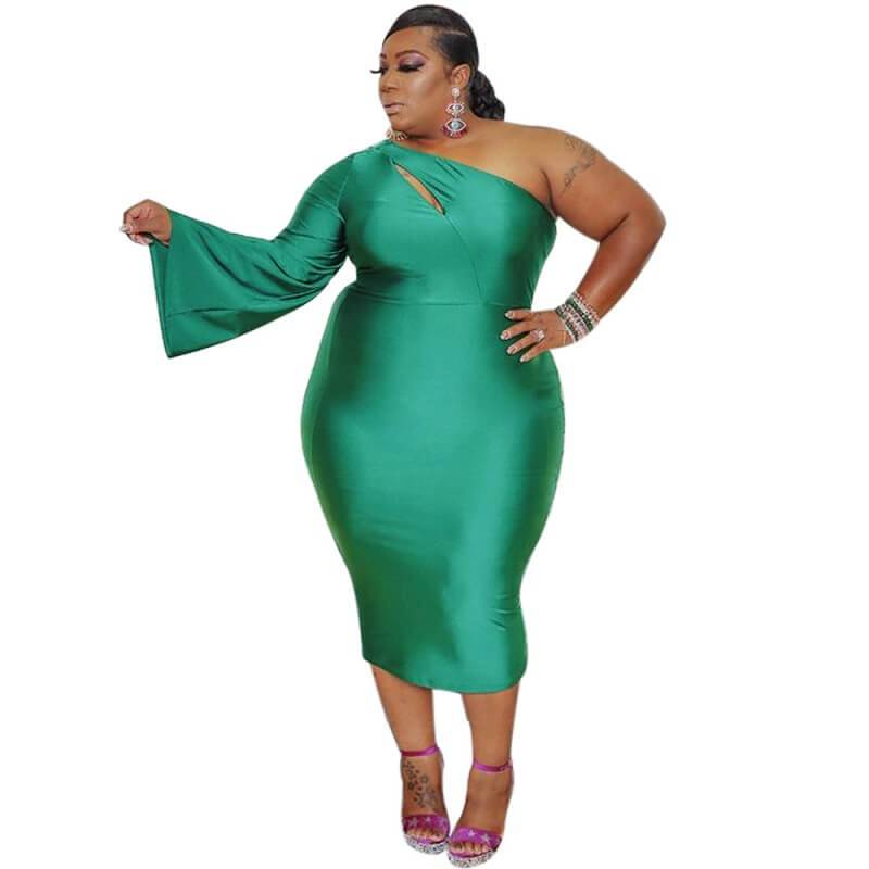 Plus Size Dresses To Wear With Sleeves - green color