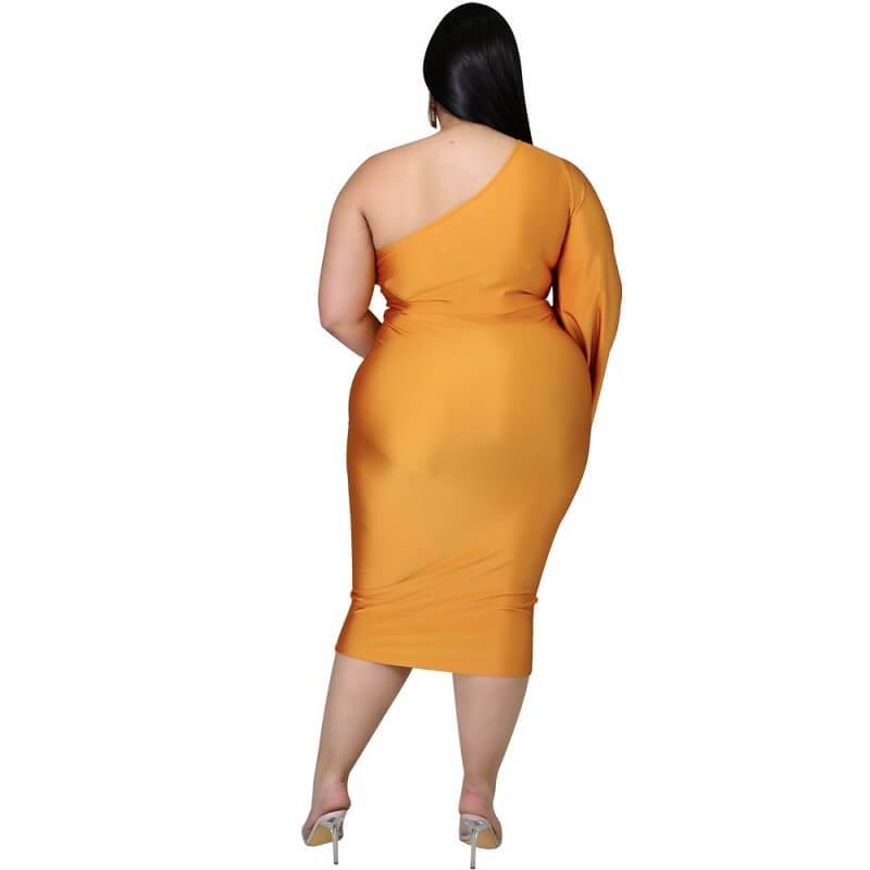 Plus Size Dresses To Wear With Sleeves - gold back