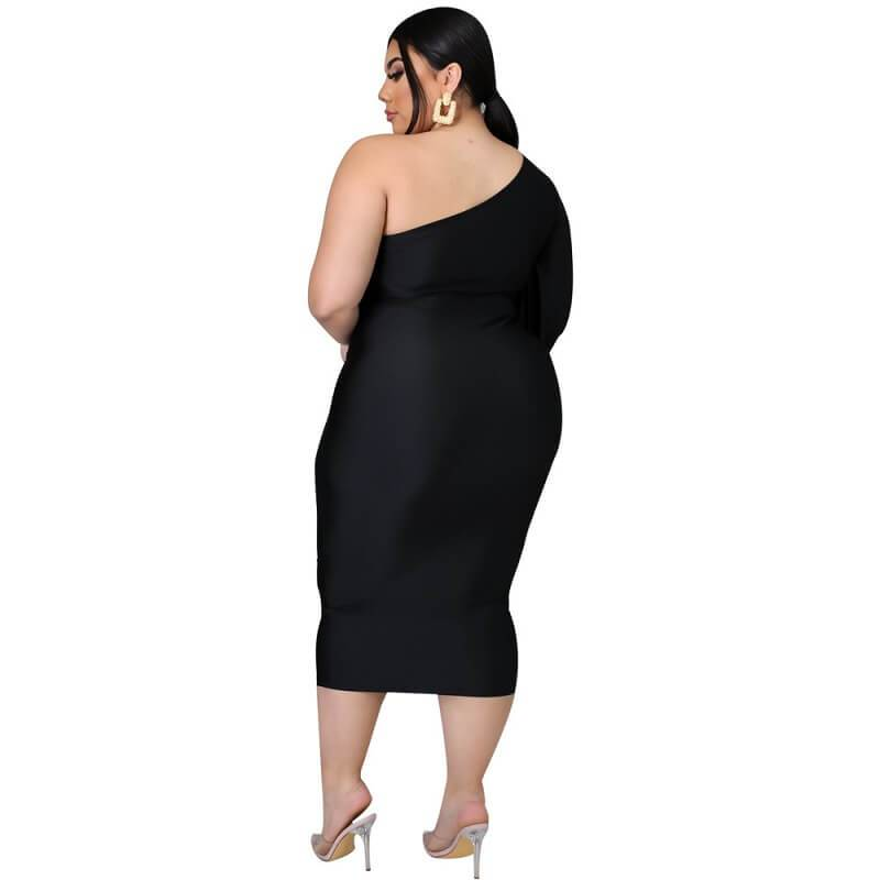 Plus Size Dresses To Wear With Sleeves - black back