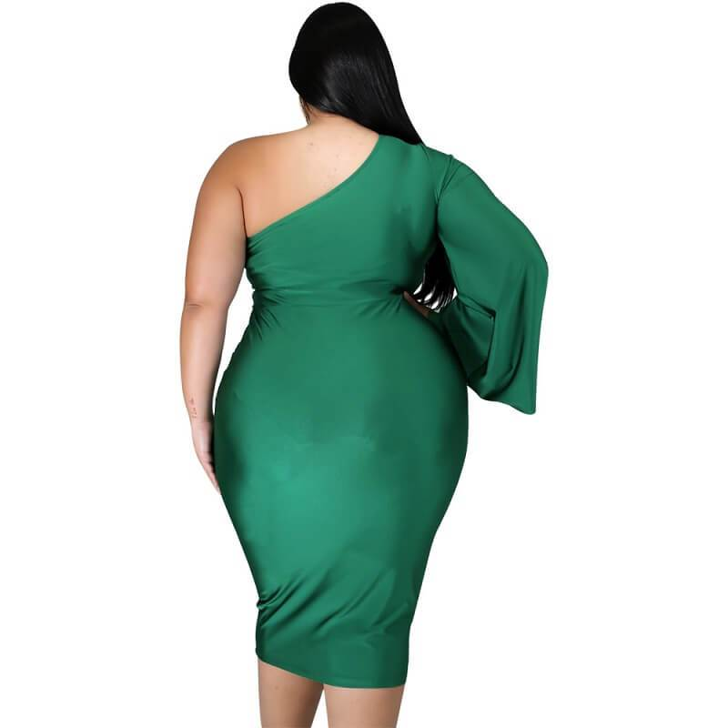 Plus Size Dresses To Wear With Sleeves- green back
