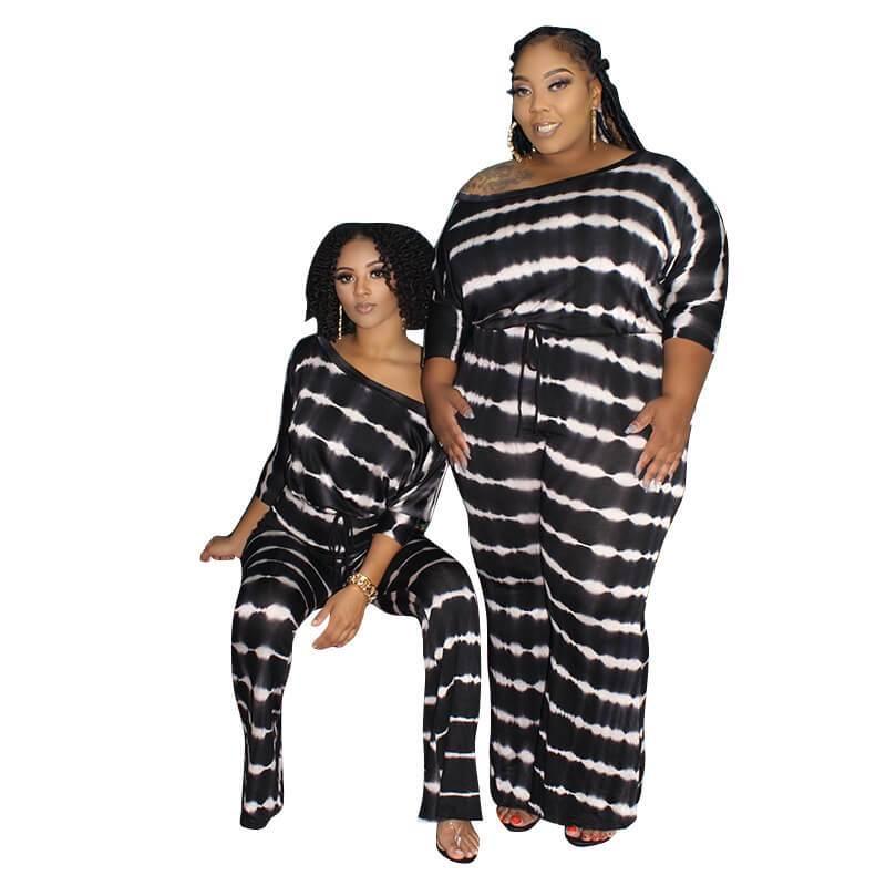 Plus Size Wide Leg Jumpsuit - black color