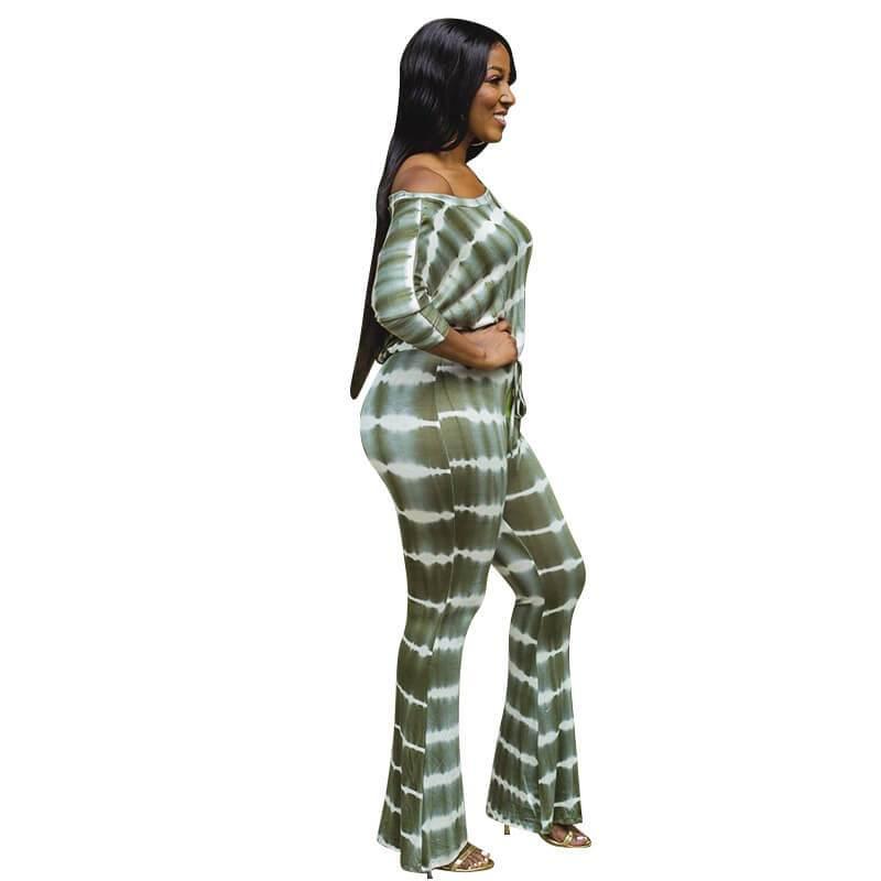 Plus Size Wide Leg Jumpsuit - green side