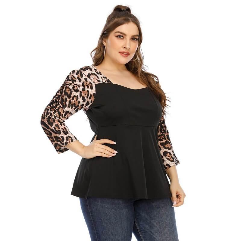 Plus Size Leopard T Shirt - black detail image