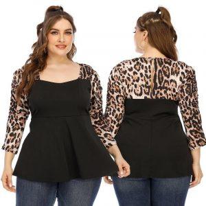 Plus Size Leopard T Shirt - black main picture