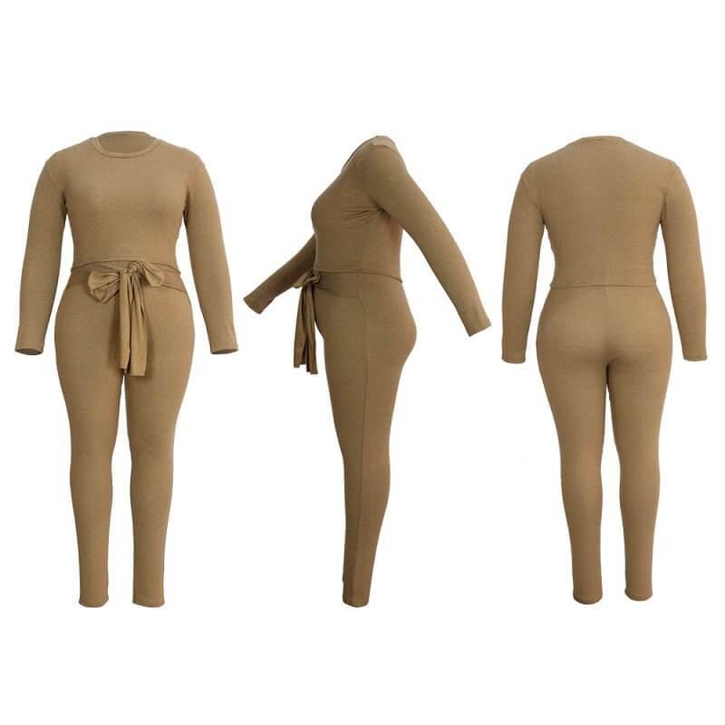 Plus Size Solid-color Slim Two-piece Set - khat positive